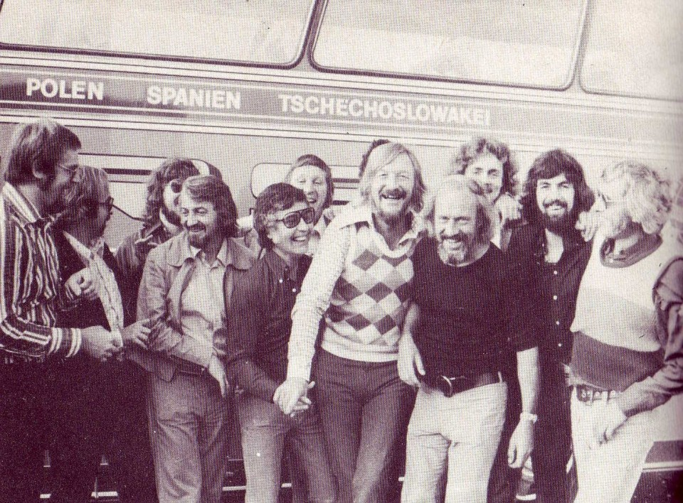 (From the book) Bearded men on tour: a pitstop for the James Last Band. Carnage almost certainly followed.