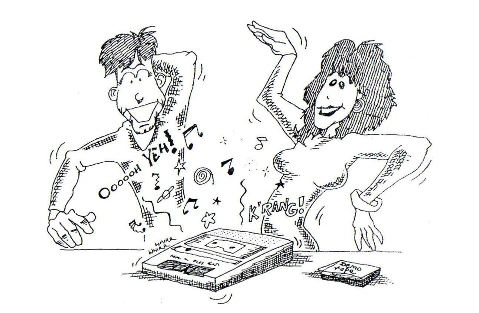 (From the book) Julian Sharp demonstrates the use of the demo tape. Future generations may need help identifying the music-playing device illustrated here.